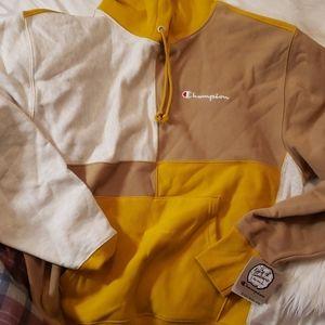 Champion Reverse Weave UO Yellow Brown Gray Hoodie